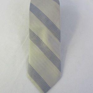 Calvin Klein Mens Taupe Gray Cloud Stripe Silk Tie